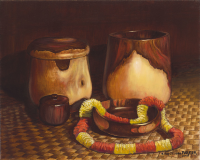 Hawaiian Koa Bowls with Feather Lei