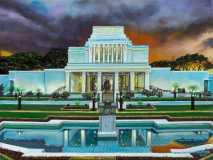 LDS Laie Hawaii Temple Night